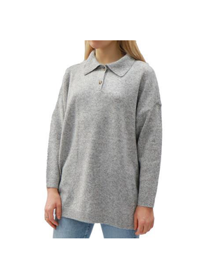 Ladies Knit Closed Collar Sweater Silver Grey Mix