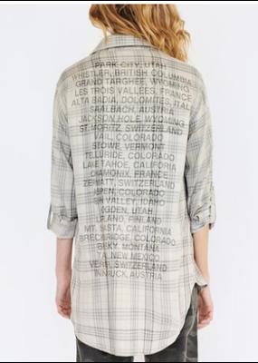 Sundry Subtle Lurex Plaid Oversized Shirt Destinations Macadamia
