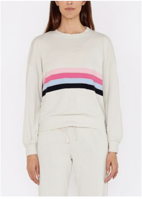 Sundry Relaxed Sweatshirt Silver Applique Stripes