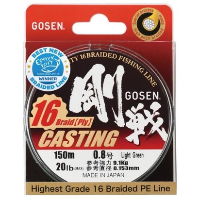 Gosen fishing line Gosen casting X16 braid 150m  Pe:2 0.242mm 18.5kg 41lb
