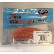 "Zman lures Z-Man Scented JerkShadz 4"" 5pk Atomic sunrise"