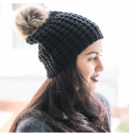 Leto Accessories Textured Beanie with Pom Pom