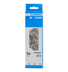 Shimano BICYCLE CHAIN, (01) CN-HG93 SUPER NARROW CHAIN FOR 9-SPEED , 116 LINKS, W/O END PIN, W/AMPOULE TYPE CONNECT PIN X1, IND.PACK