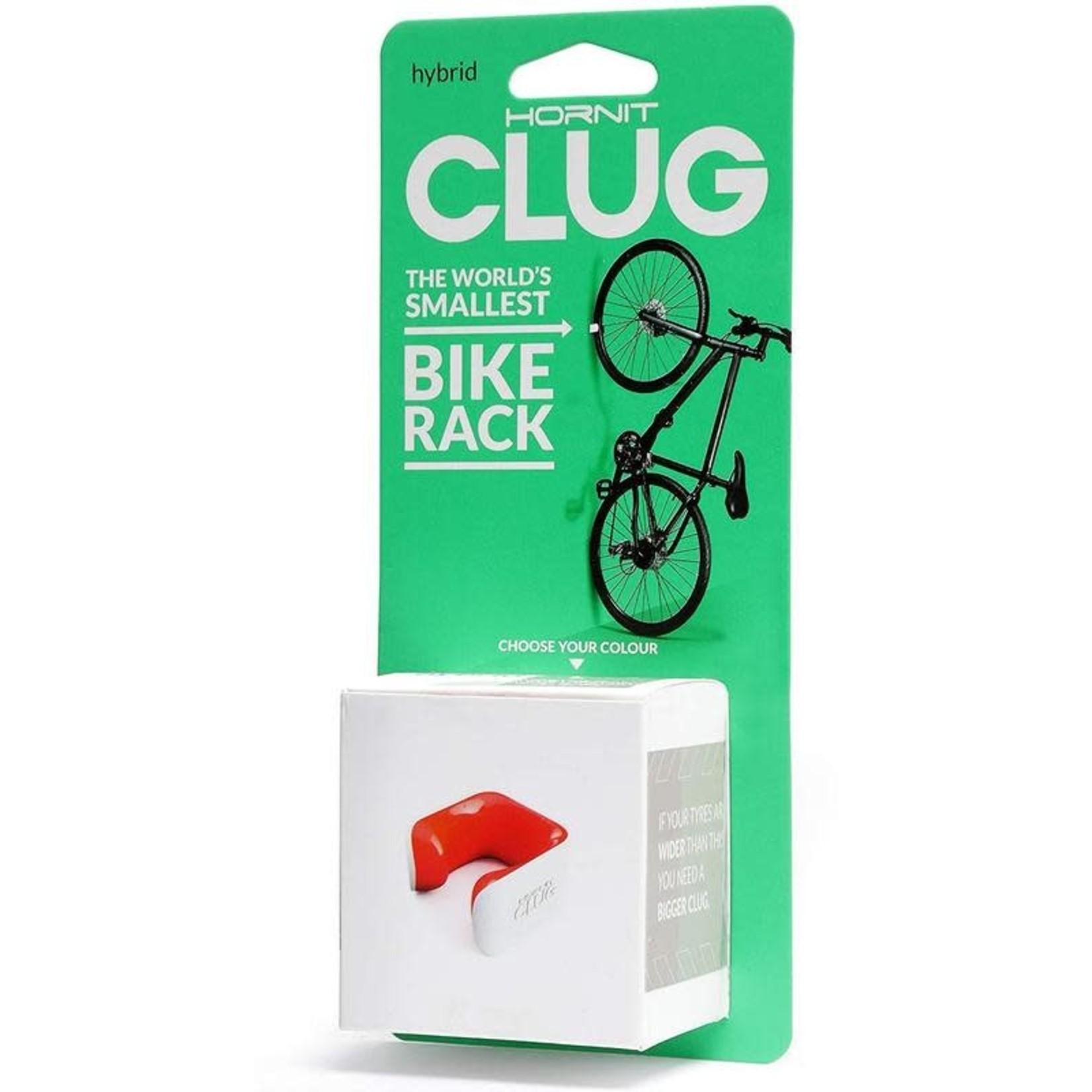 Clug Hybrid Wall Mount Bicycle Storage Rack, White/Orange (fits tires 33mm - 43mm)