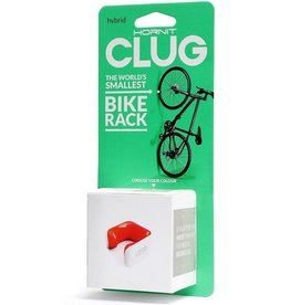 Clug Hybrid Wall Mount Bicycle Storage Rack, White/Orange (fits tires 33mm - 43mm)