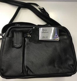 SGI LEATHERGOODS BLACK LEATHER HANDBAG
