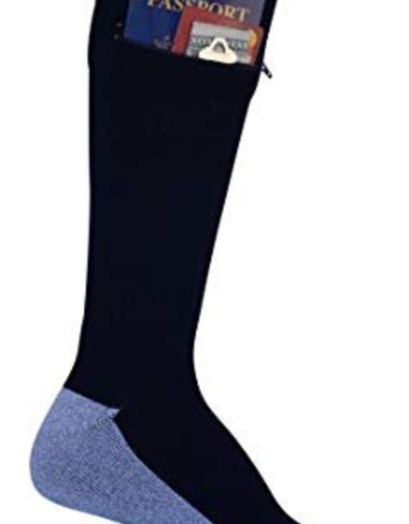 POCKET SOCKS 4804 PASSPORT SECURITY SOCKS  LARGE BLACK