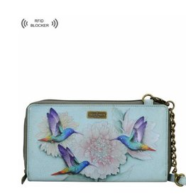 ANUSCHKA 1144 RBW  Zip Around RFID Crossbody Clutch