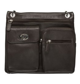 MANCINI LEATHER 17-0195 RFID LEATHER CROSSOVER BAG BLACK
