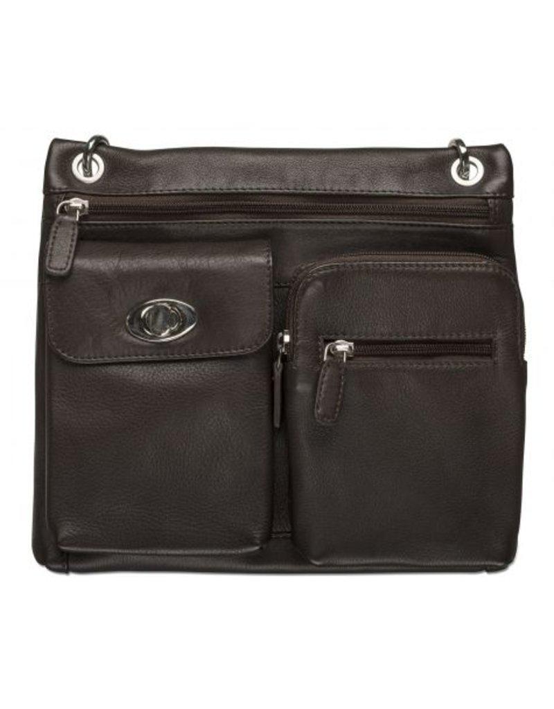 MANCINI LEATHER 17-0195 RFID LEATHER CROSSOVER BAG BLACK