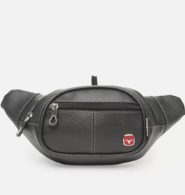 SWISS GEAR BLACK FAUX LEATHER CONVERTIB'E WAIST BAG WITH RFID PROTECTION