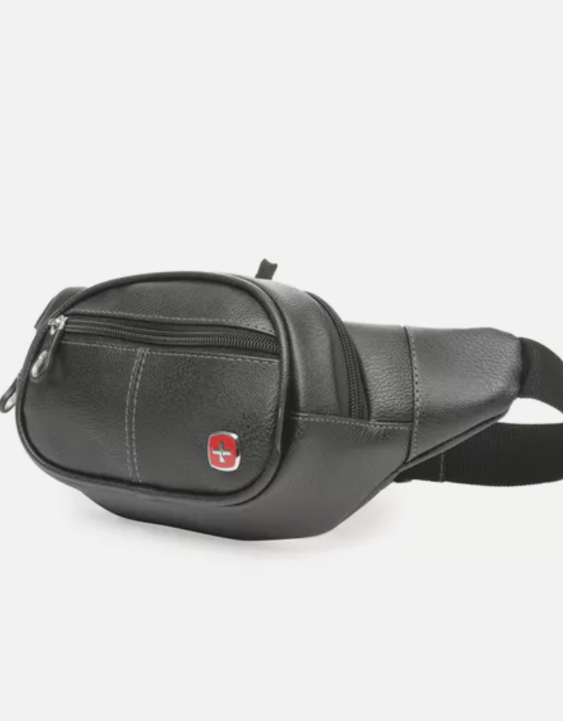 SWISS GEAR SWT0435 BLACK FAUX LEATHER CONVERTIB'E WAIST BAG WITH RFID PROTECTION