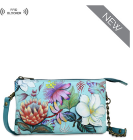 ANUSCHKA JARDIN BLUE LEATHER ORGANIZER CROSSBODY RFID