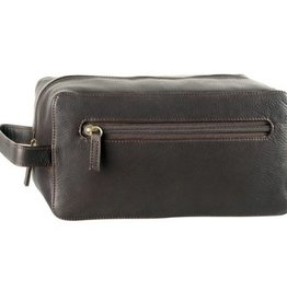 DEREK ALEXANDER LEATHER SINGLE TOP ZIP TRAVEL CASE BROWN