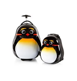 """TRAVEL TOTS EMPEROR PENGUIN SET LUGGAGE 18"""" WITH BACKPACK"""