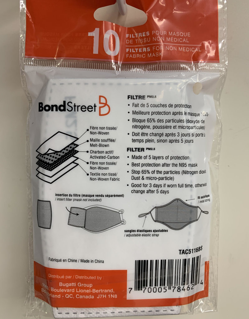 BOND STREET TAC5116BS ADULT FILTER ONE PACK HAS 10 FILTERS
