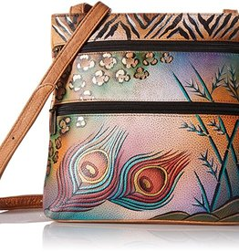 ANUSCHKA ANUSCHKA 447 PKS LEATHER COMPACT CROSSBODY PREMIUM PEACOCK