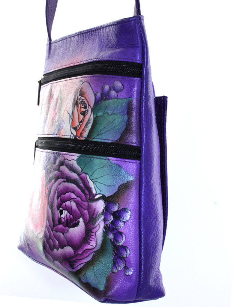 ANUSCHKA 447 LLC ANUSCHKA LEATHER COMPACT CROSSBODY LUSH LILAC