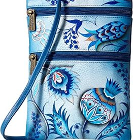 ANUSCHKA ANUSCHKA LEATHER MINI DOUBLE CROSSBODY BEWITCHING BLUES