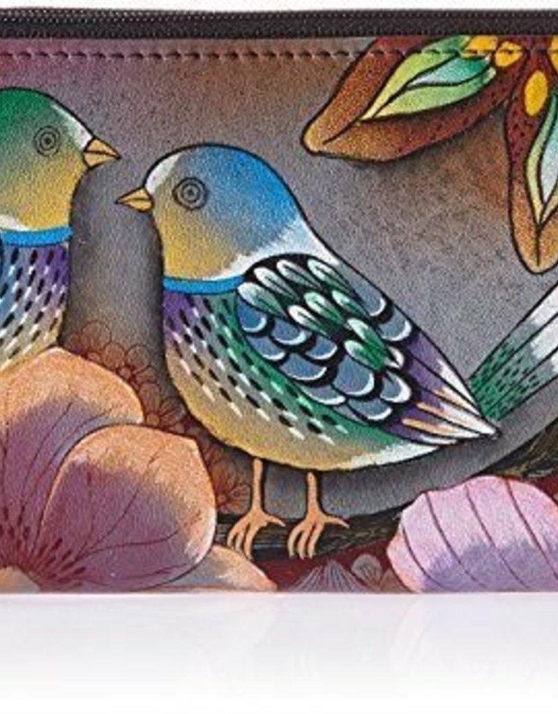 ANUSCHKA 1125 BLB TWIN ZIP ORGANIZER WALLET BLISSFUL BIRDS