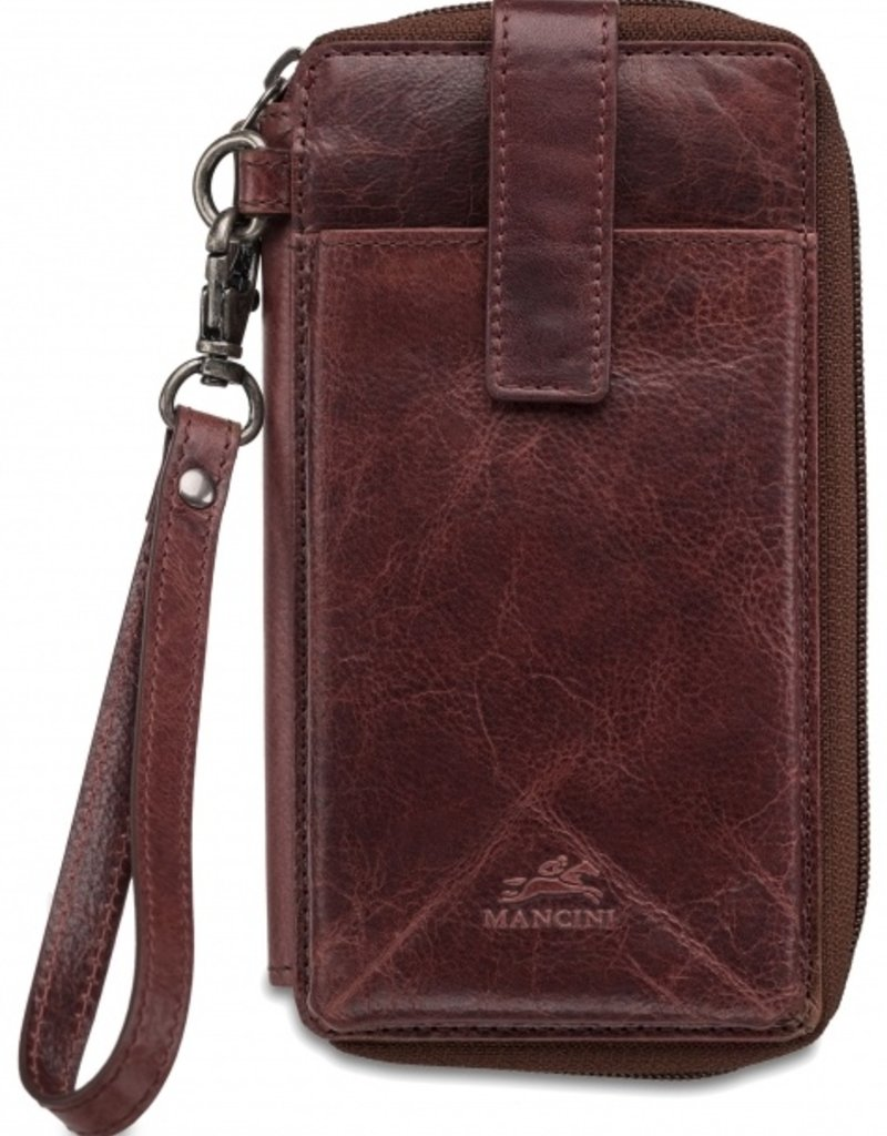 MANCINI LEATHER 95-762 LEATHER RFID CELLPHONE WALLET BURGUNDY