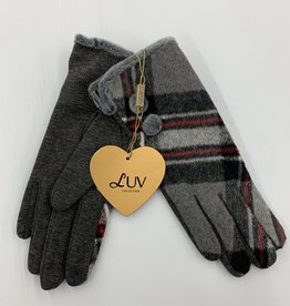 LUV COLLECTIONS GLOVES SU07 SUEDE GREY  PLAID  ONE SIZE