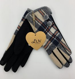 LUV COLLECTIONS GLOVES SU09 BEIGE SUEDE  PLAID  ONE SIZE