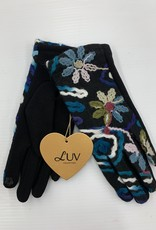 LUV COLLECTIONS GLOVES 4063 BLACK/BLUE FLOWERS EMBROIDERY  ONE SIZE