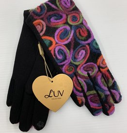 LUV COLLECTIONS GLOVES BLACK/ORANGE MULTI C54  CIRCLES  ONE SIZE