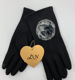 LUV COLLECTIONS GLOVES C1 BLACK WITH FUR  ONE SIZE