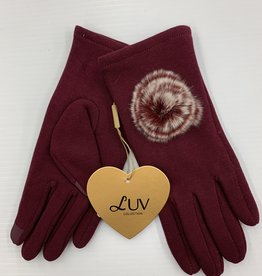 LUV COLLECTIONS GLOVES C4 BURGUNDY WITH FUR    ONE SIZE