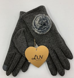 LUV COLLECTIONS GLOVES C3 GREY WITH FUR  ONE SIZE