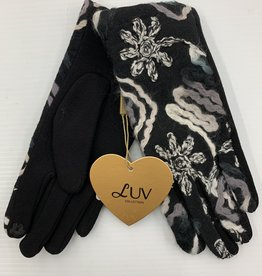 LUV COLLECTIONS GLOVES 4061 BLACK/GREY FLOWERS EMBROIDERY ONE SIZE