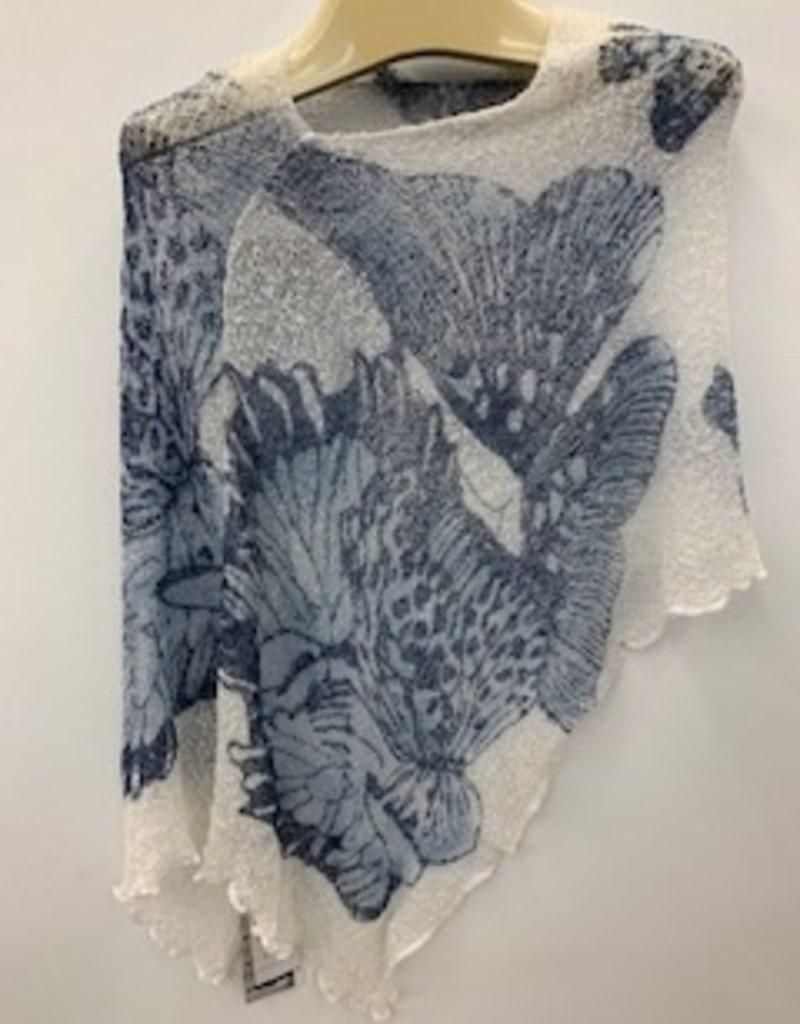 SHARANEL SHARANEL SHORT KNIT CAPLET SHORT BUTTERFLY BLUE JEAN B-129