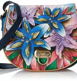 ANUSCHKA ANUSCHKA LEATHER HANDBAG LUSCIOUS LILIES DENIM