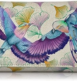 ANUSCHKA ANUSCHKA LEATHER CLUTCH WALLET WINGS OF HOPE