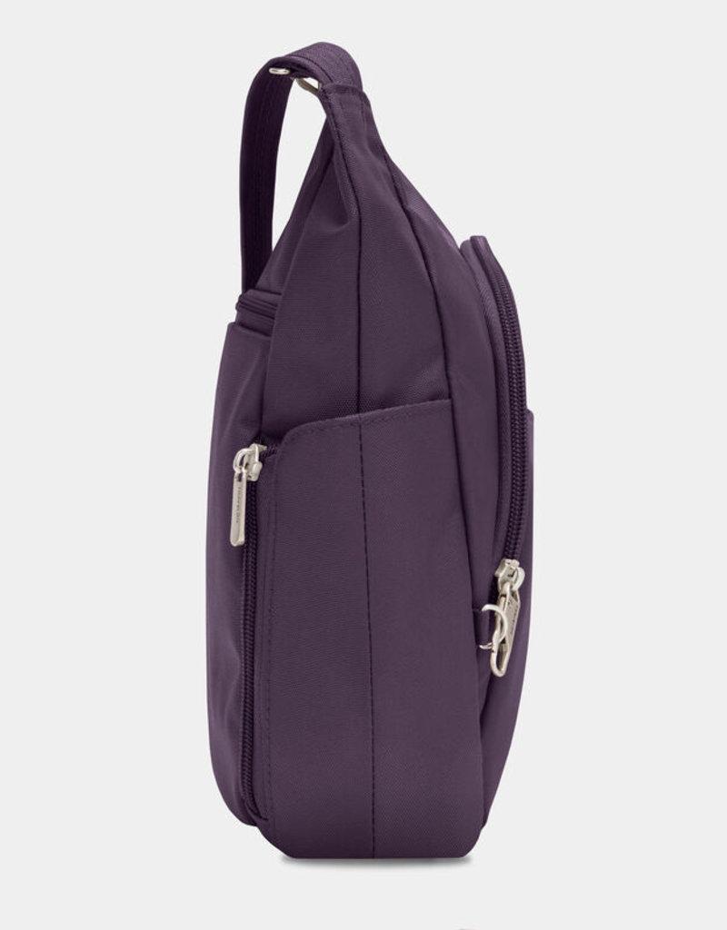 TRAVELON 42757 ANTI-THEFT CLASSIC CROSSBODY BUCKET BAG PURPLE