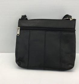 SGI LEATHERGOODS 308 BLACK LEATHER SHOULDER BAG