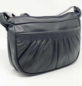 SGI LEATHERGOODS 10745 BLACK LEATHER SHOULDER BAG