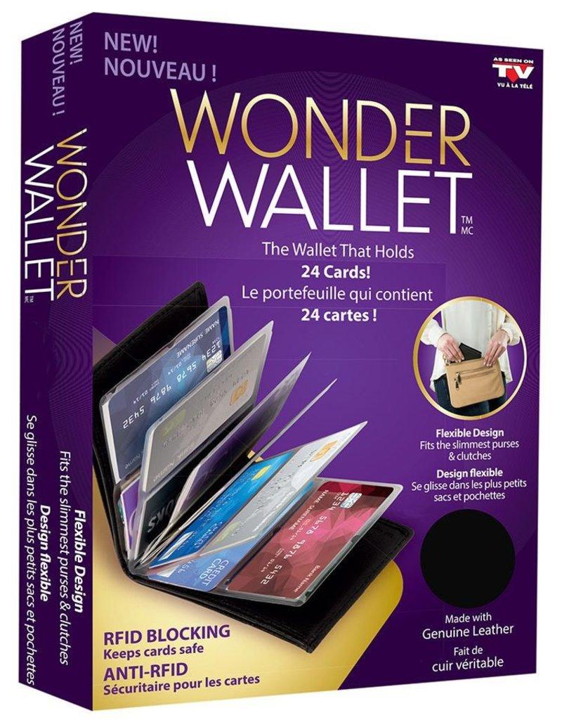 WONDER WALLET BLACK RFID HOLDS 24 CARDS
