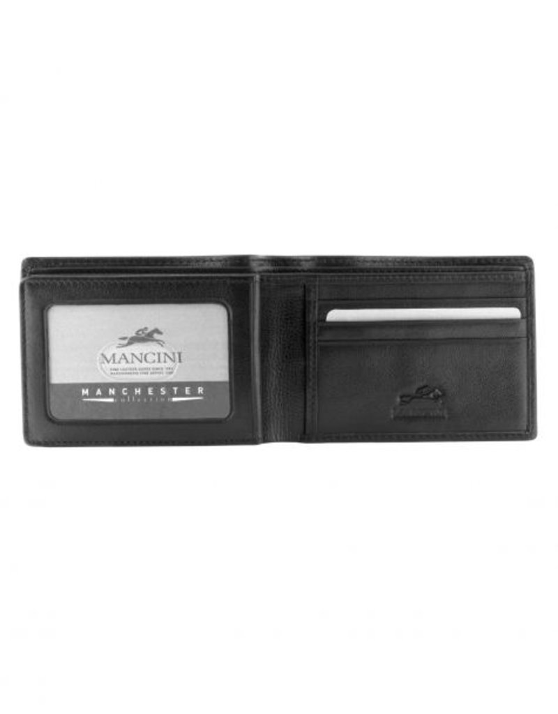 MANCINI LEATHER 2010106 RFID BLACK MENS LEATHER WALLET