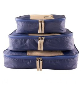 MANCINI LEATHER BLUE PACKING CUBE SET