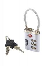 LEWIS N CLARK TSA44 SILVER TSA CABLE LOCK WITH KEYS