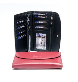 SGI LEATHERGOODS LADIES LARGE WALLET RED