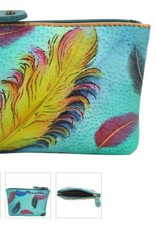 ANUSCHKA 1031 FFT  LEATHER COIN POUCH FLOATING FEATHERS