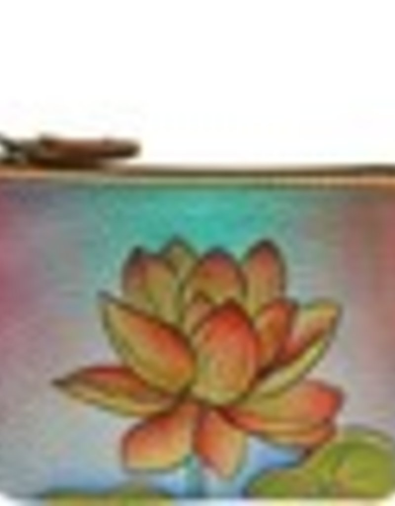 ANUSCHKA 1031 ORL  LEATHER COIN POUCH ORIENTAL LOTUS