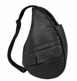 AMERIBAG BLACK MEDIUM LEATHER HEALTHY BACK BAG