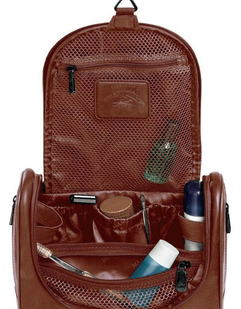 MANCINI LEATHER 98202 BROWN LEATHER TOILETRY BAG