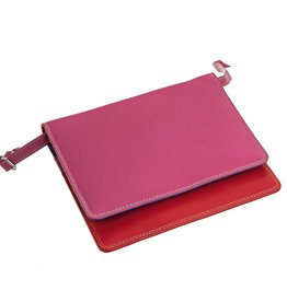 LEATHER  WALLET ON A STRING IN FUSCIA
