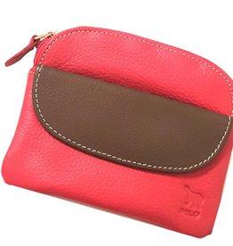 2206 COIN PURSE & RFID CARD HOLDER RED/BROWN COIN FLAP